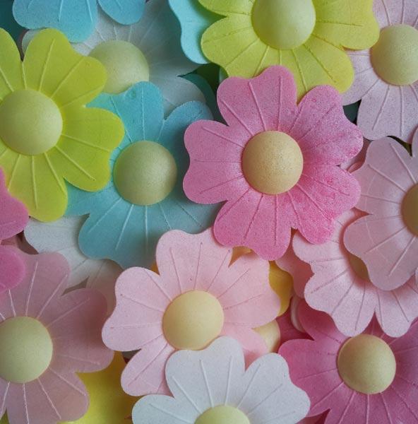 вафельные цветы для торта фото